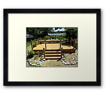 Beautiful Deck and Waterfall - k6055 Framed Print