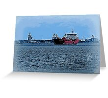 Freighter Coming Through - 6063a Greeting Card