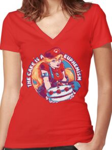 The Cake is a Euphemism Women's Fitted V-Neck T-Shirt