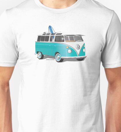 Split VW Bus Teal with Surfboard Hippie Van Unisex T-Shirt