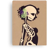 Skeleton with purple & green flowers Canvas Print