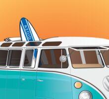 California Volks Split Bus Samba Bus with Surfboard Sticker