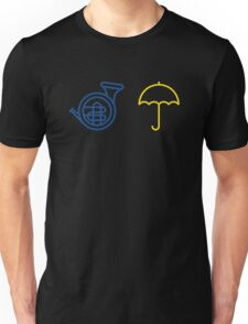 Blue French Horn Vs. Yellow Umbrella Unisex T-Shirt