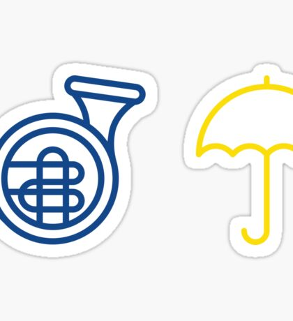 Blue French Horn Vs. Yellow Umbrella Sticker