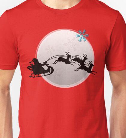 Merry Christmas Santa On His Reindeer Sleigh Unisex T-Shirt
