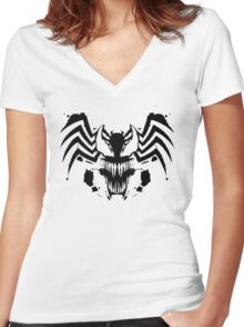 Rorschach Symbiote Women's Fitted V-Neck T-Shirt