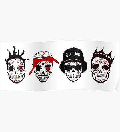 RIP MCs - Gangsta Rapper Sugar Skulls Poster
