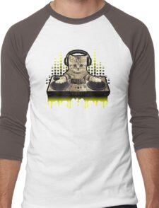Cool Cat DJing by Basement Mastermind Men's Baseball ¾ T-Shirt
