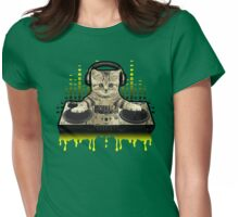 Cool Cat DJing by Basement Mastermind Womens Fitted T-Shirt