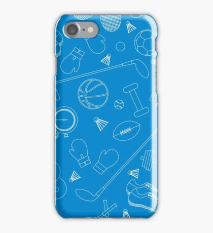 Seamless pattern on the sports theme. Vector illustration sports and fitness equipment.  iPhone Case/Skin