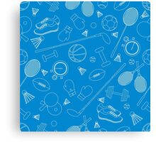 Seamless pattern on the sports theme. Vector illustration sports and fitness equipment.  Canvas Print