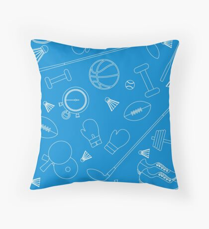 Seamless pattern on the sports theme. Vector illustration sports and fitness equipment.  Throw Pillow