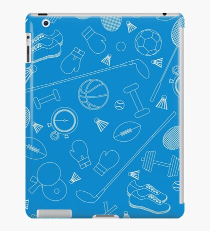 Seamless pattern on the sports theme. Vector illustration sports and fitness equipment.  iPad Case/Skin