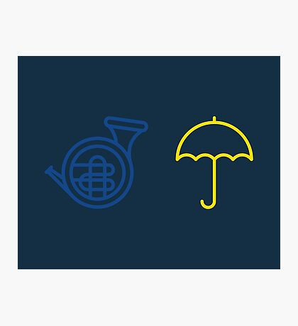 Blue French Horn Vs. Yellow Umbrella Photographic Print
