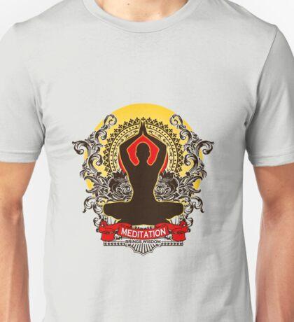 Meditation brings wisdom Unisex T-Shirt
