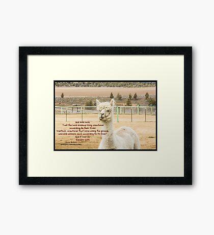 Bible Verse Genesis 1:24 Framed Print