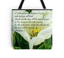 Bible Verse Matthew 7:7-8 Tote Bag