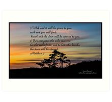 Bible Verse Matthew 7:7-8 Art Print