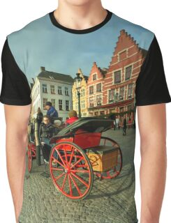 Brugge Grand Place Horse n Cart  Graphic T-Shirt