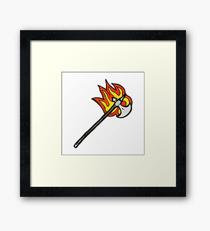 flaming axe cartoon Framed Print