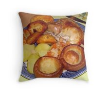 Roast Chicken Dinner with Yorkshire Puddings Throw Pillow
