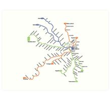 Geographically accurate subway map of Stockholm Art Print