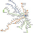 Geographically accurate subway map of Stockholm by Joachim Holmér
