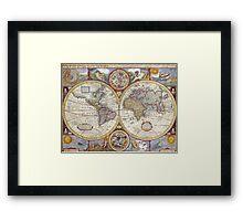 Antique Map of the World & Heavens Framed Print