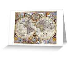 Antique Map of the World & Heavens Greeting Card