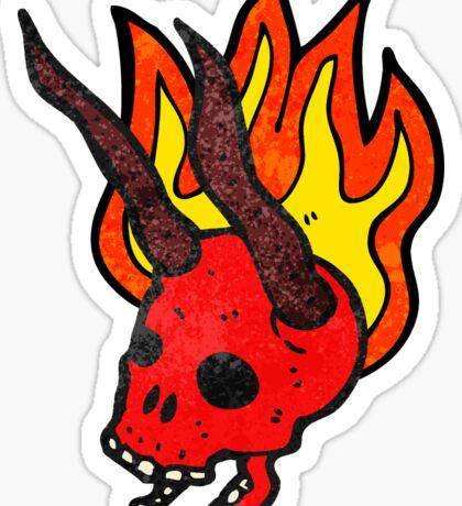 flaming devil skull cartoon Sticker