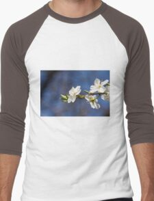 white flowers in spring Men's Baseball ¾ T-Shirt