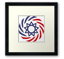 Baha'i American Multinational Patriot Flag Series Framed Print