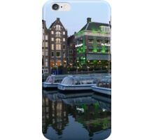 Canal Boats at Dusk, Damrak, Amsterdam. iPhone Case/Skin