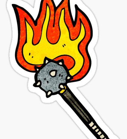 flaming mace weapon cartoon Sticker