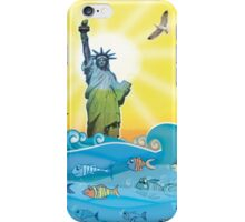 Cool Colorful New York Statue of Liberty and Fish iPhone Case/Skin