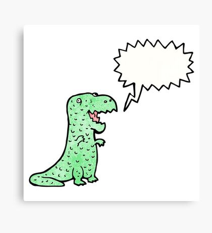 friendly dinosaur cartoon Canvas Print