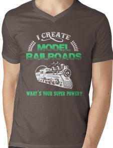 I Create Model Railroads Model Train Shirt Mens V-Neck T-Shirt