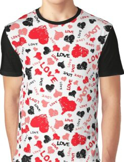 Valentine Hearts Background with Painted Word Love Graphic T-Shirt