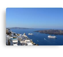 Fira capital of Santorini island and the view of volcanic caldera, Santorini, Greece Canvas Print