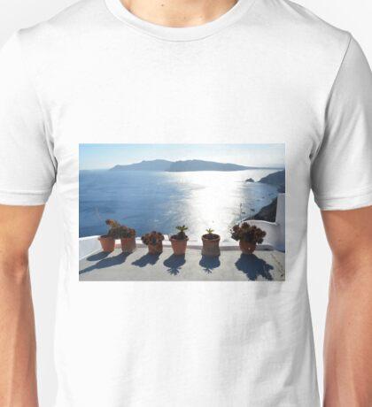 Flower pots with cactus in Santorini, Greece Unisex T-Shirt