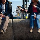 Dog licking ice cream by beanphoto