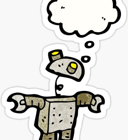 cartoon robot with thought bubble Sticker