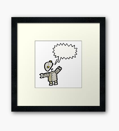 cartoon robot talking Framed Print