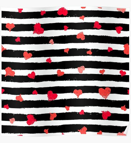Vector Stripe Pattern with Hearts Poster