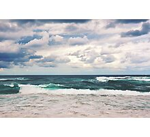Dramatic stormy beach scene Photographic Print