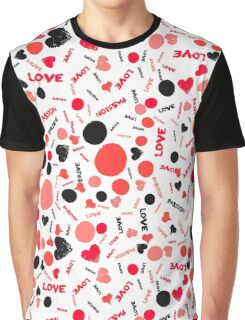 Grunge hearts, dots and words love Graphic T-Shirt