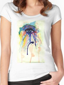 Watercolor Eye with splashing effect Women's Fitted Scoop T-Shirt