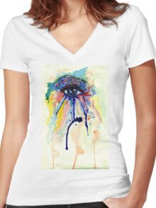 Watercolor Eye with splashing effect Women's Fitted V-Neck T-Shirt