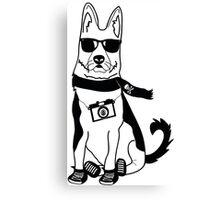 Hipster German Shepherd / Alsatian - Cute Dog Cartoon Character Canvas Print