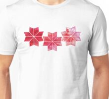 Abstract watercolor red snowflakes Unisex T-Shirt